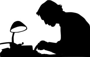 Illustration of author in shadow