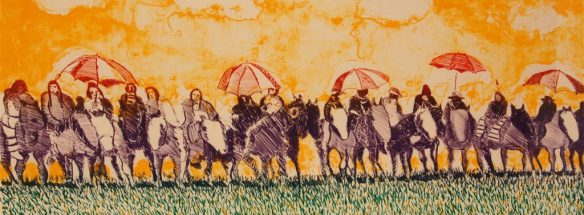 Indians With Umbrellas illustration
