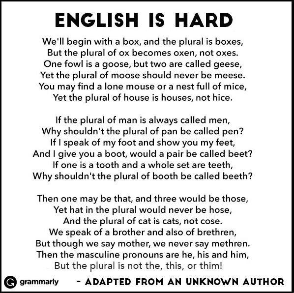 English is hard poem poster