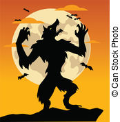 werewolf in front of full moon illustration