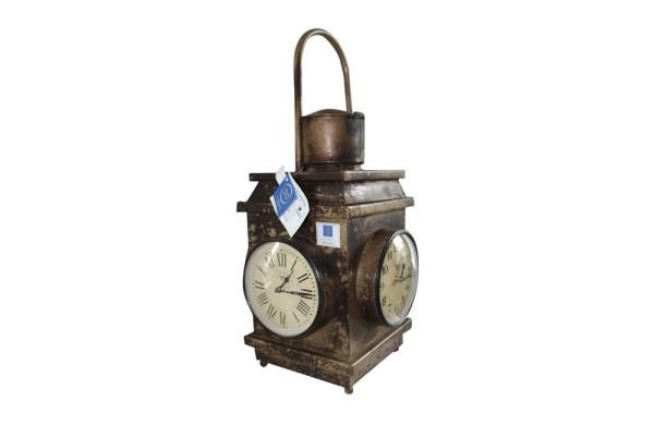 Upcycled Iron Lantern Clock (Mud Brown)
