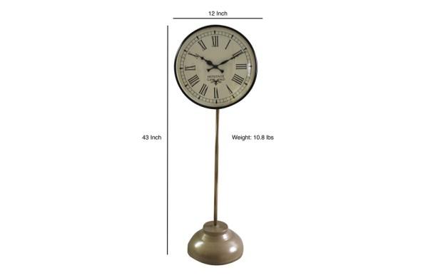 Iron Floor Lamp Clock in Brass Finish (Plain Brown)