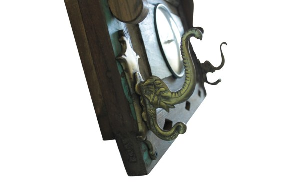 Upcycled Old Window Clock with Brass Hooks (Emerald Green)