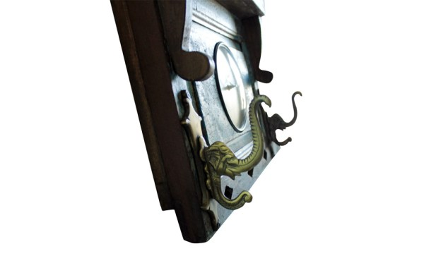 Upcycled Old Window Clock with Brass Hooks (Ivory White)