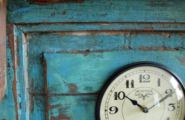 Upcycled Old Window Clock with Brass Hooks (Rustic Green)