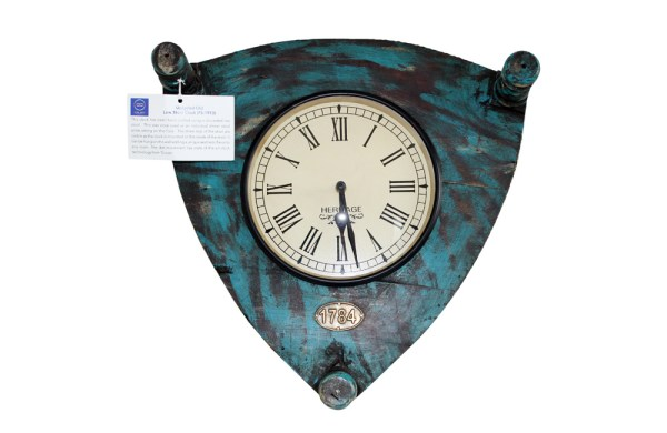 Upcycled Old Low Stool Clock (Blue)