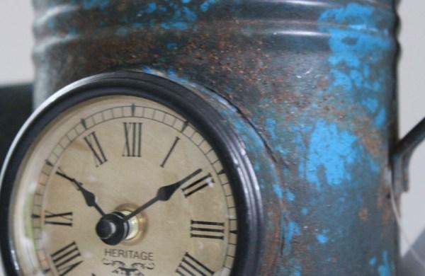Upcycled Iron Jug Clock (Blue)