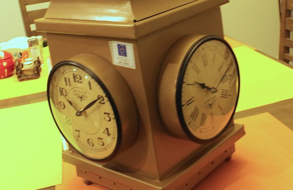 Upcycled Iron Lantern Clock (Brown)