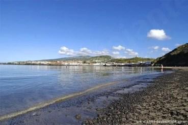Praia de Porto Pim, na Horta, a principal cidade da ilha do Faial