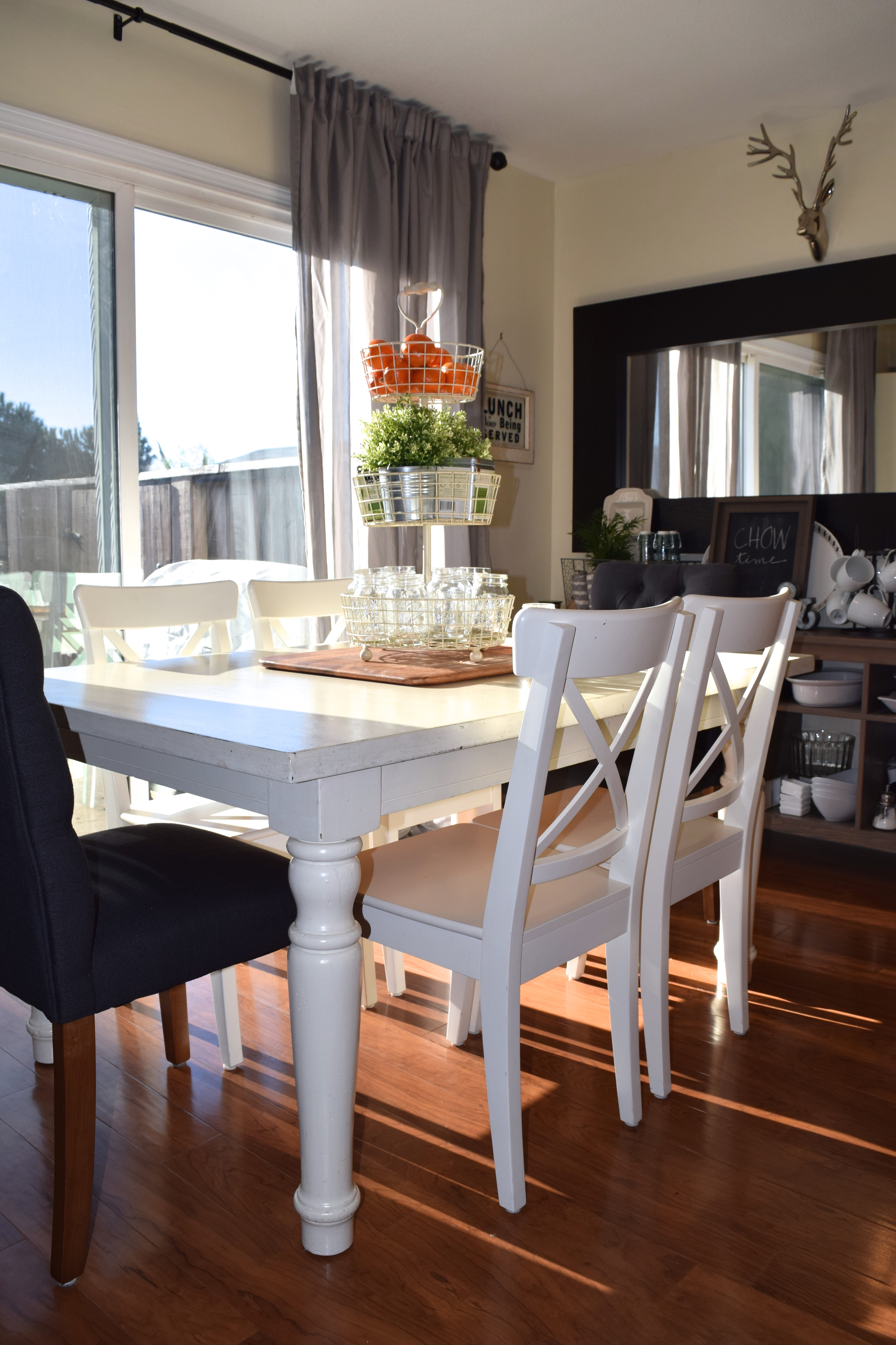 Our small dining space + new tufted end chairs! \u2013 almafied.com