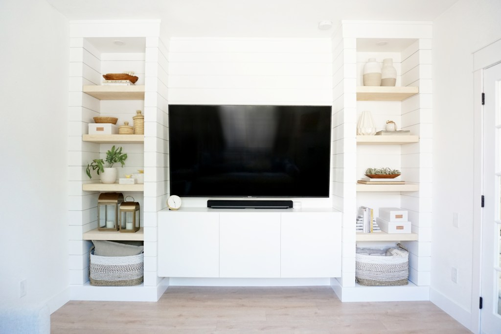 Our Diy Shiplapped Built In Tv Wall Reveal Almafied Com