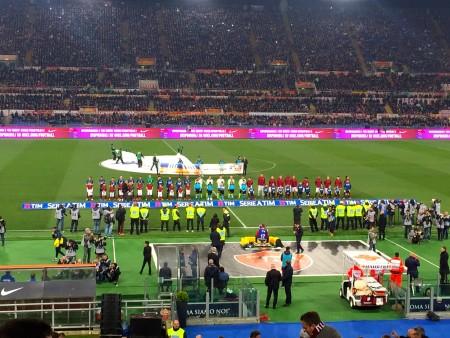 Roma-Inter squadre in campo Foto Roberto Rosi
