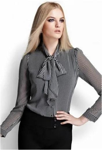 4653424132 Camisa com gola laço  veja como usar essa peça ultra feminina!