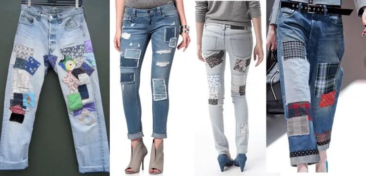 Jeans com remendos