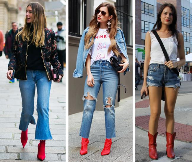 Como usar botas vermelhas