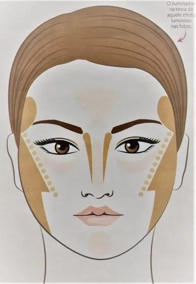 Contorno de maquiagem para o rosto redondo.