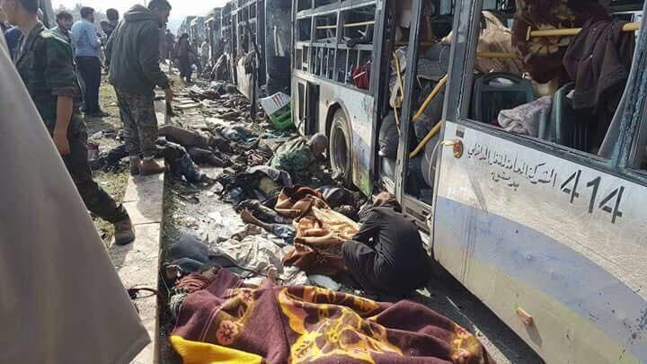 صور من التفجير الذي استهدف أهالي الفوعة وكفريا في الراشدين غرب حلب