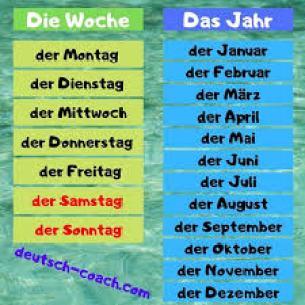 Die Tage und die Monate - Deutsch-Coach.com