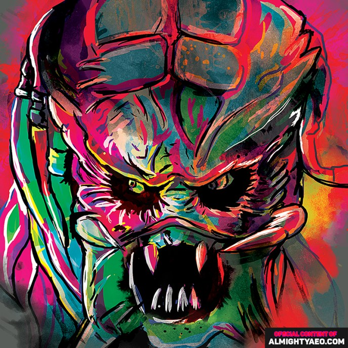 Painting of movie monster predator