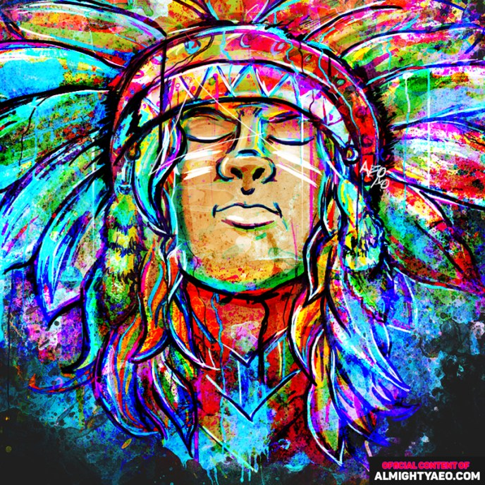 painting of a native american by almighty aeophex