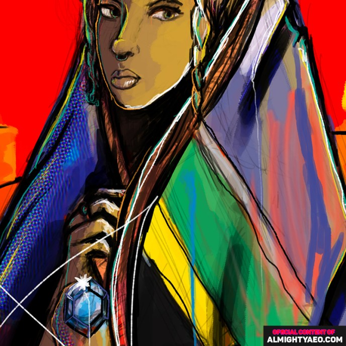 woman hiding in a south african flag holding a precious diamond by the almighty aeophex