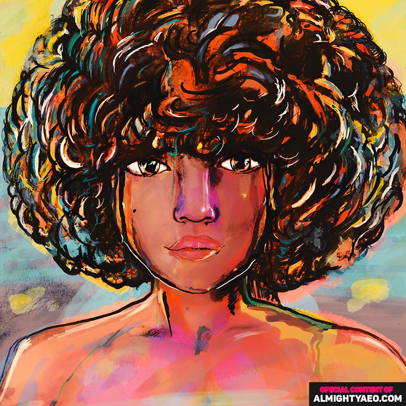 drawing of young girl with curly hair by almighty aeophex and shannah diaz