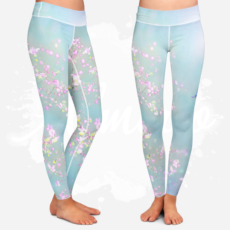 Leggings for women, Almirio, spring, butterfly, flower, blue