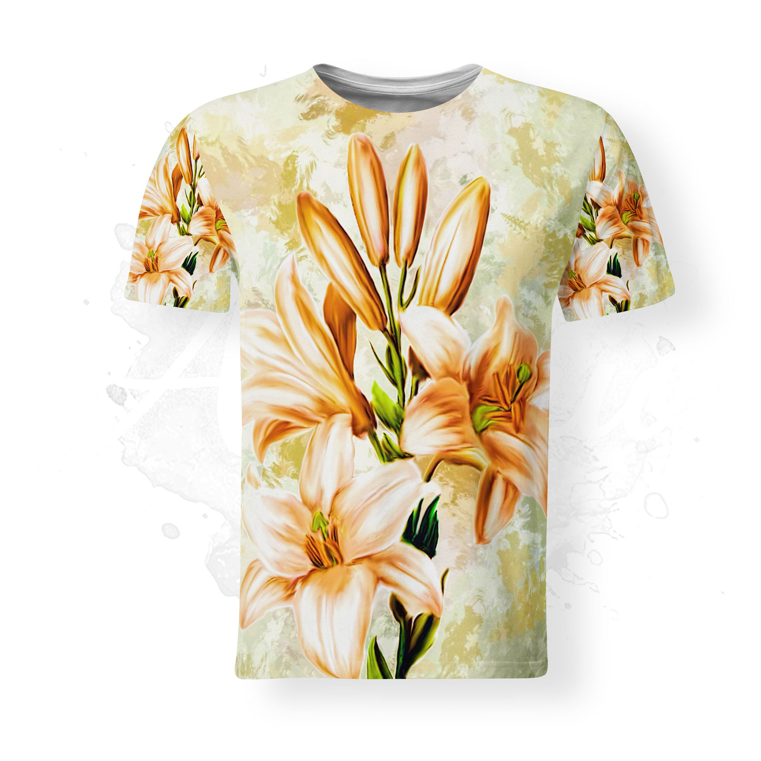 T-Shirt for men, Almirio, Lily, white, orange, flower,