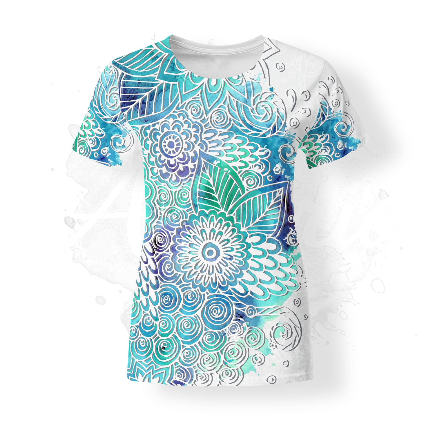 T-Shirt for women, Julia Snegireva, Feather, blue, white, chill
