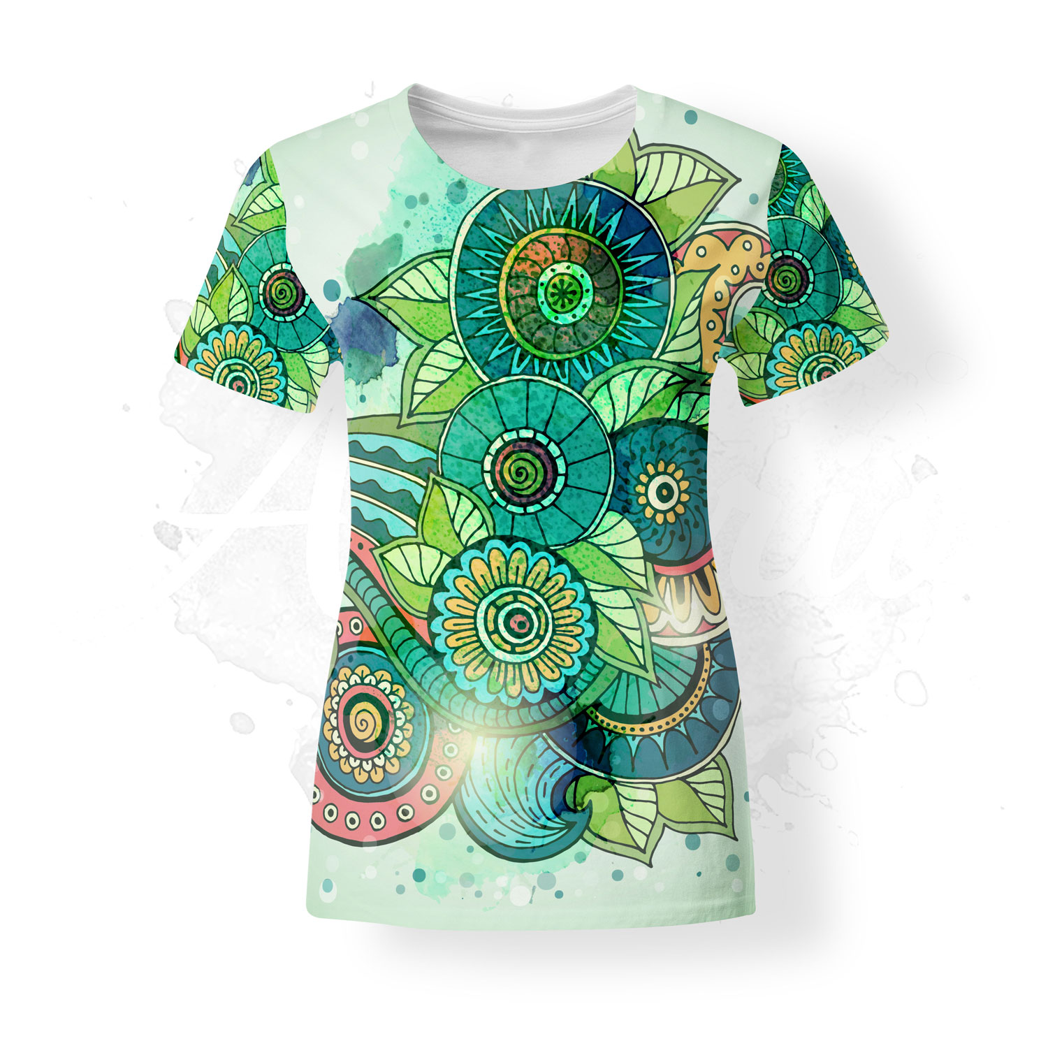 T-Shirt for women, Julia Snegireva, Forest, green, chill