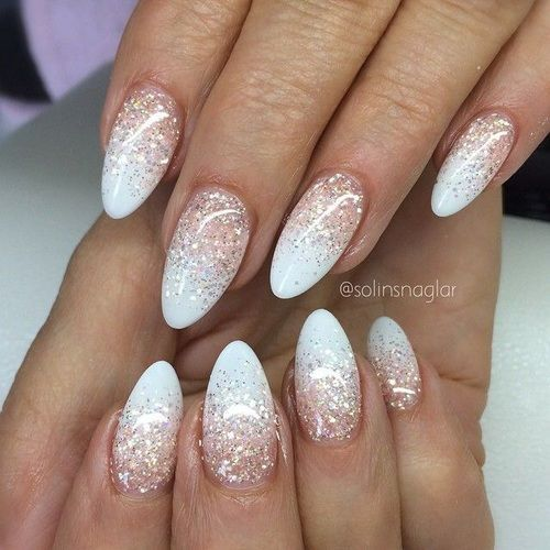 This design is perfect if you want almond nails that will work with most  outfits but want more excitement. The use of glitter really helps these  nails stand ... - 30 Of The Hottest & Must Have Almond Nail Designs Of 2018