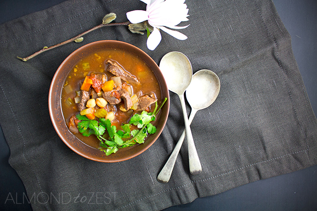Easy Dutch Oven Beef and Chick Pea Soup