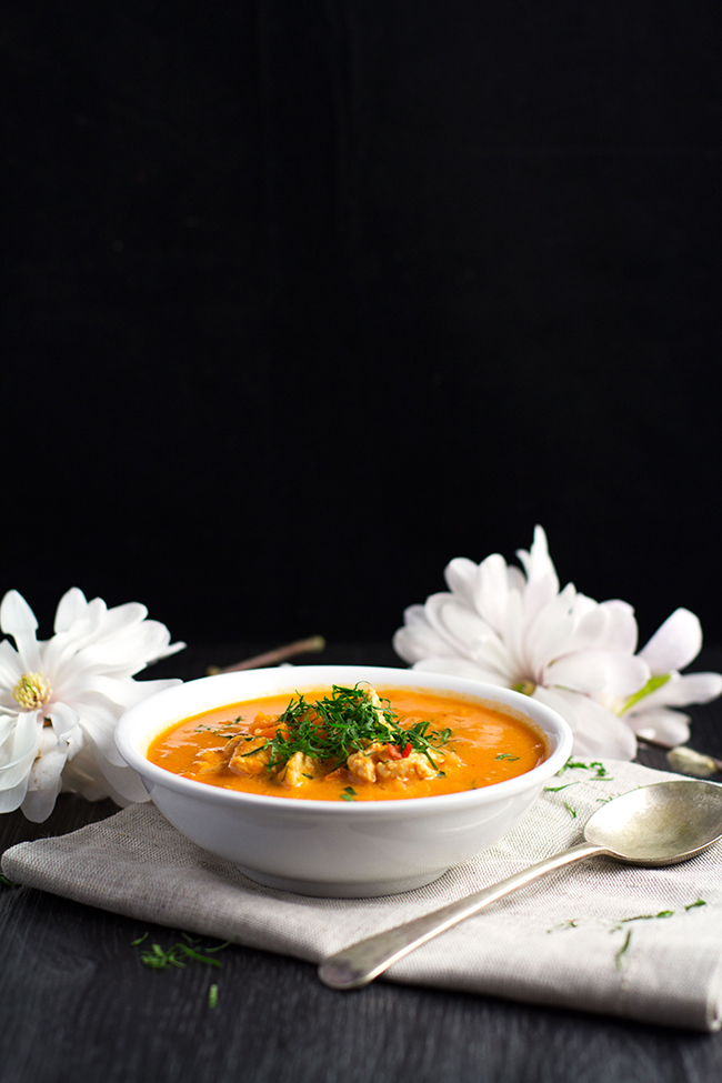 Spicy Chicken, Tomato and Coconut Soup