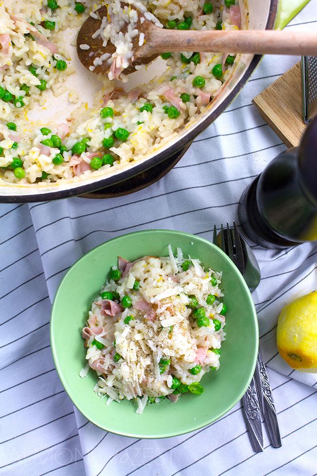 Zesty Pea, Ham and Parmesan Dutch Oven Risotto