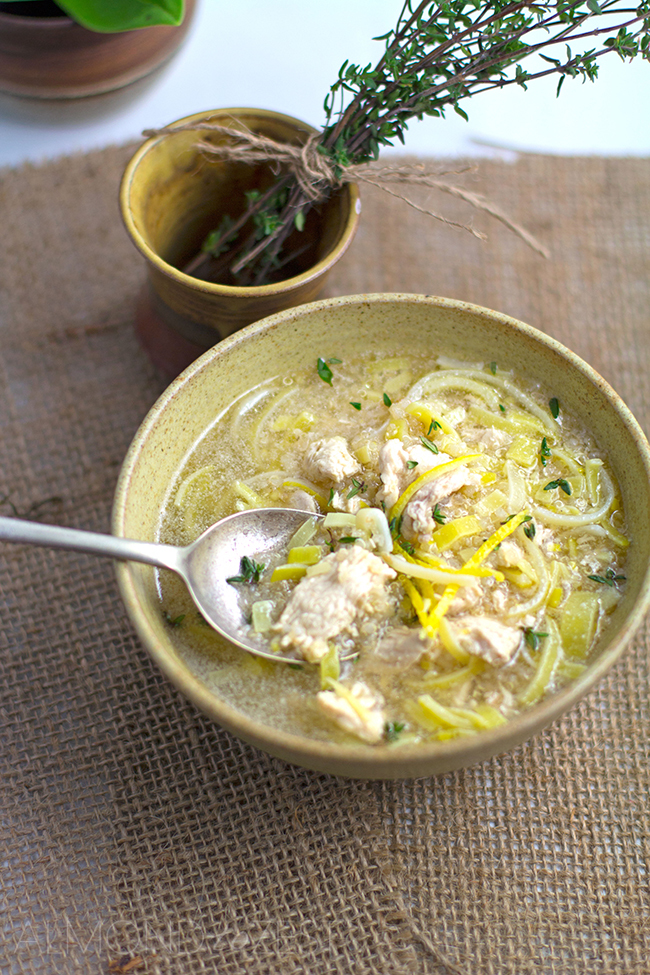 Chicken, Ginger, Lemon and Quinoa Soup