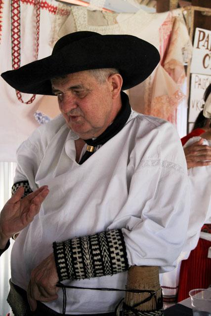 Man with woolen cuffs