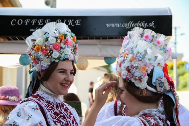 Slovak girls with elaborate headdresses