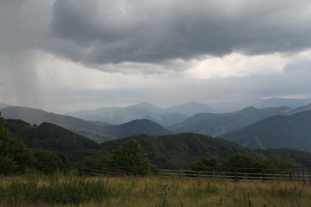 View of rain coming through the Velka Fatra