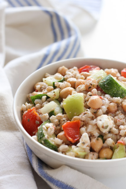 Fill up with this meal salad of chickpea and barley Greek salad.