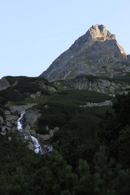 waterfall and mountain peak