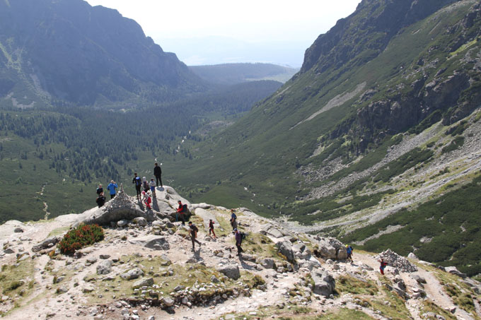 Hikers enjoying the view in the High Tatras