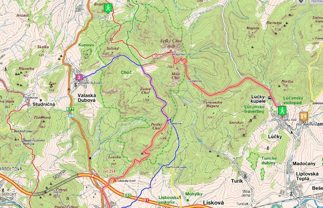 map of hikes up to Velky Choc