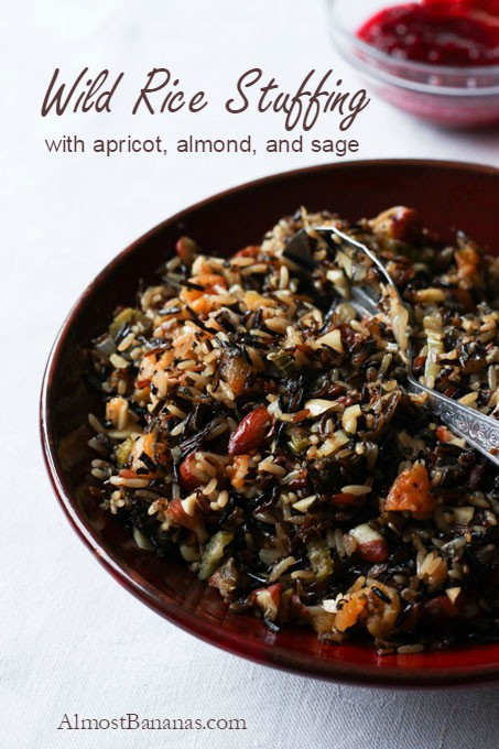 Wild Rice Stuffing with apricots, almond, and sage, perfect for your holiday celebration