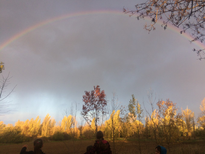 rainbow in cloudy sky