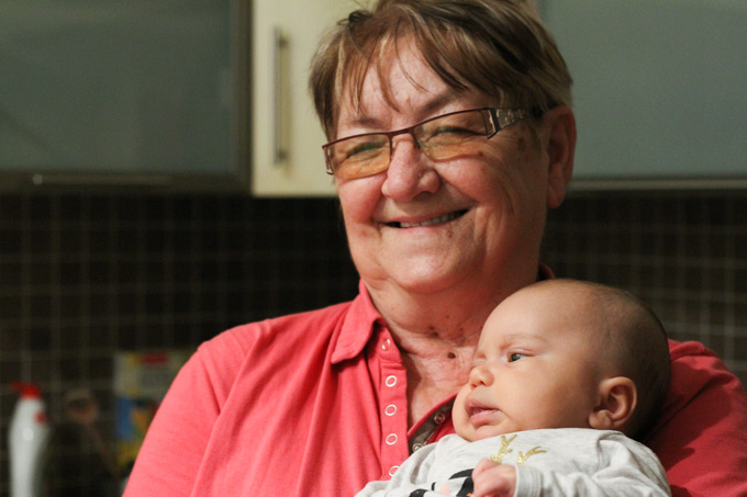 Grandmother with her great-grandson