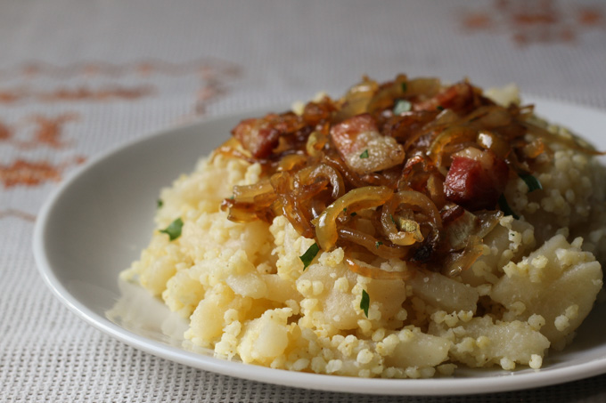 Opantance: Slovak millet and gnocchi with caramelized onions and bacon