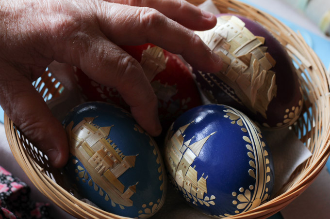Easter eggs with Slovak castles