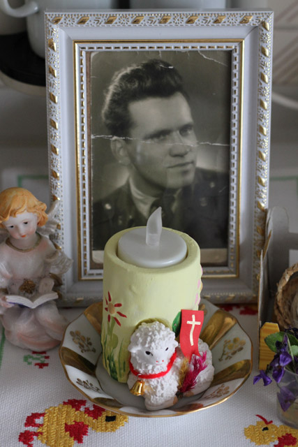 Photo of deceased husband with electric candle