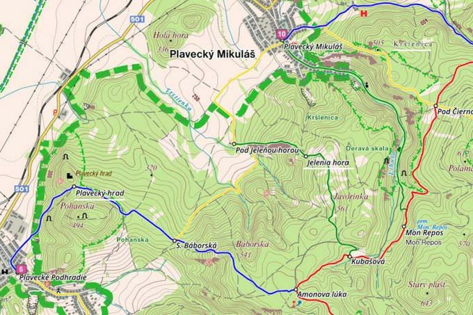 map of hiking plavecky mikulas