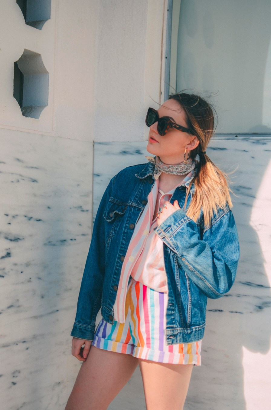 Rainbow Striped Outfit Denim Jacket